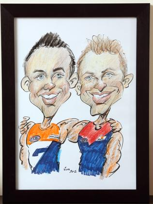 Caricature of Tom Scully displayed in his home.