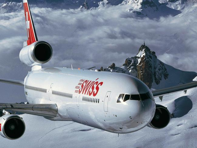 This is an undated company photo of a Swiss International Airlines aircraft during flight.  Swiss International Air Lines Ltd. will today announce 3,000 job cuts and the elimination of a third of its fleet as the national carrier tries to post its first profit since it was formed after the collapse of Swissair Group. Source:  Swiss International/Via Bloomberg News  Picture: Bloomberg