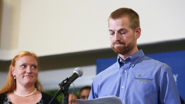 Survivor ... Dr Kent Brantly with his wife after his release from Emory Hospital on August 21. Picture: Getty