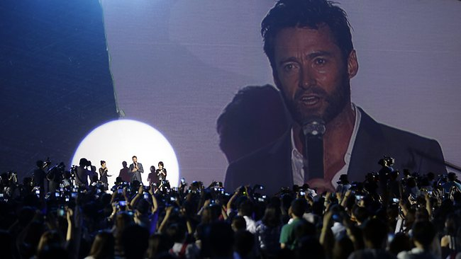 Actor Hugh Jackman speaks to fans in Seoul. Picture: AP