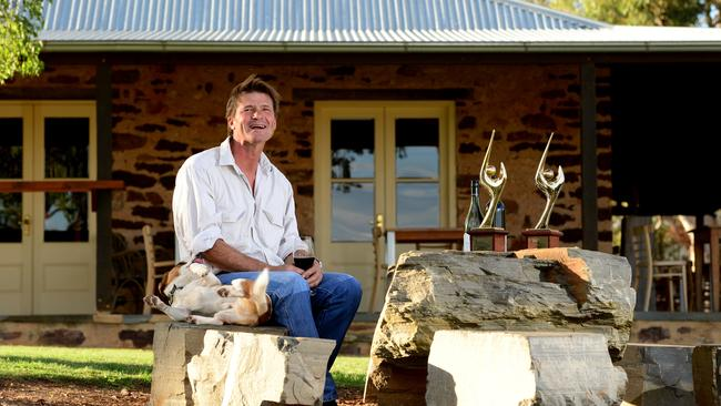 Tony Brooks sits outside his property at Pindarie Wines. Photo: Tricia Watkinson