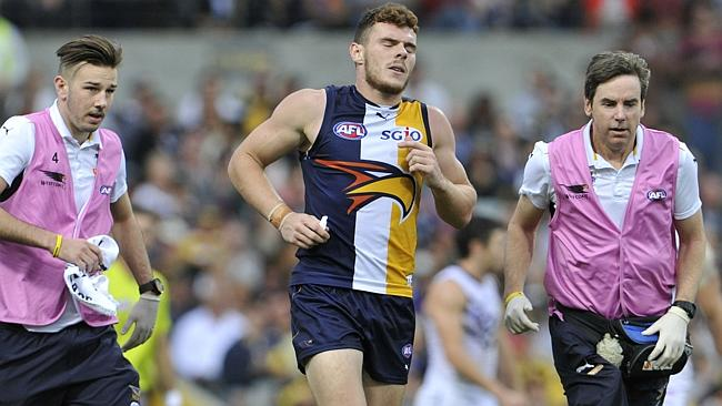 Luke Shuey comes off with injury in the final quarter. Picture: Justin Benson-Cooper