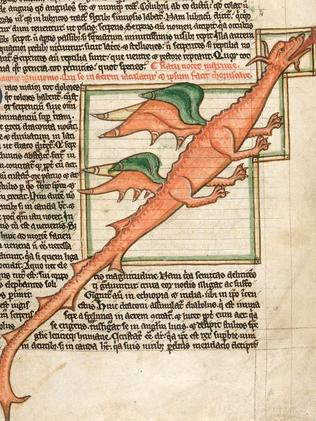 Leaping lizards ... an image of a dragon inside a medieval Bestiary held by the British Library.