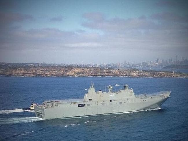 Canberra enters Sydney Harbour for the first time. Picture: NSWRSL twitter