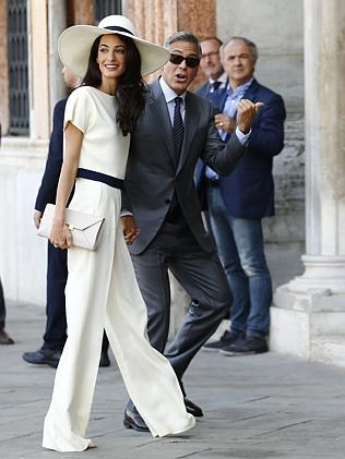 George Clooney and hia lawyer wife, Amal in Venice for a civil ceremony to officialise their wedding.