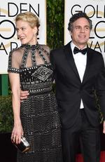 Sunrise Coigney and Mark Ruffalo arrive for the 73nd annual Golden Globe Awards, January 10, 2016, at the Beverly Hilton Hotel in Beverly Hills, California. Picture: AFP PHOTO / VALERIE MACON AFP PHOTO / VALERIE MACON