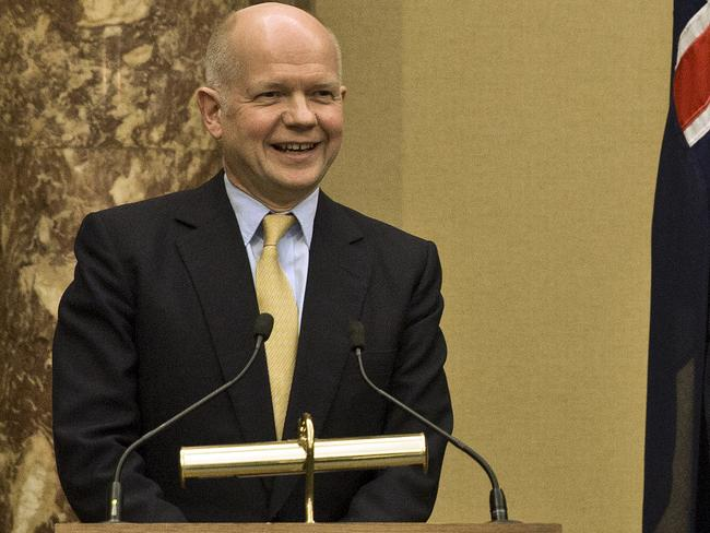 Look at the fine print ... First Secretary of State and leader of the Commons William Hague shares his view of UK visa restrictions. Picture: Ella Pellegrini