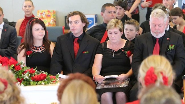 The family of Daniel Morcombe gather for his funeral at St Catherine of Siena Catholic church in Sippy Downs on the Sunshine Coast. Picture: Glenn Barnes