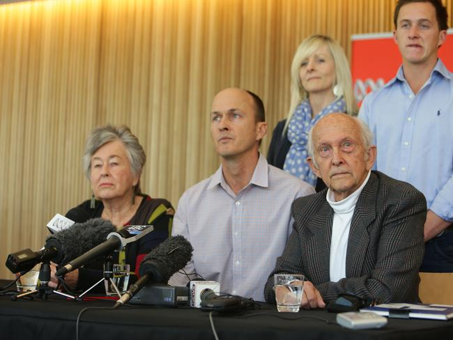 Anxious...Peter Greste's family Lois, Andrew and Juris Greste, with Kylie and Brendan in the back in Melbourne. Picture: Annette Dew