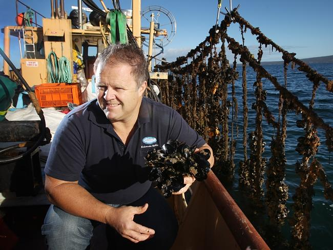 Andrew Puglisi, managing director of Kinkawooka Shellfish, aboard his boat in Boston Bay at Port Lincoln.
