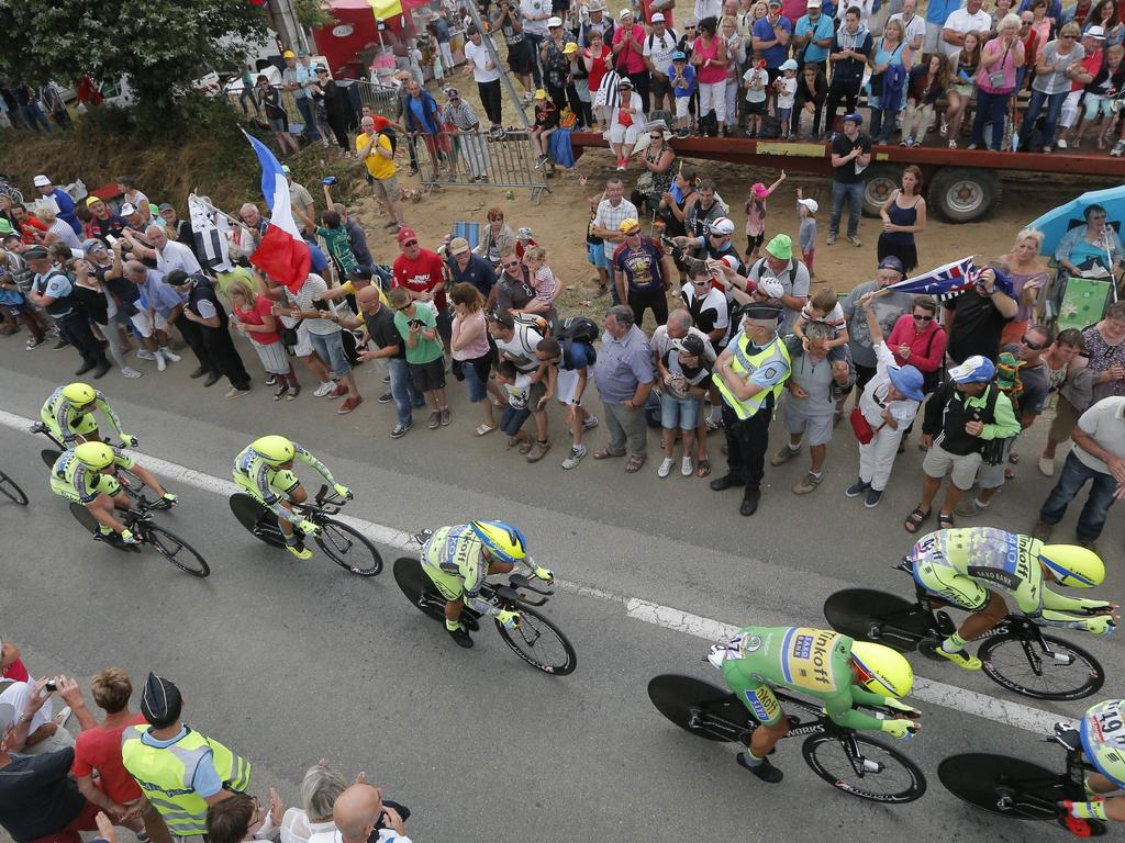 Team tinkoff saxo rides during the ninth stage of the tour de france