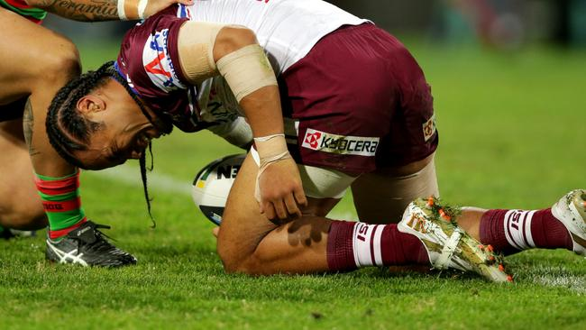 Steve Matai didn't return after suffering an early shoulder injury. Pic: Gregg Porteous