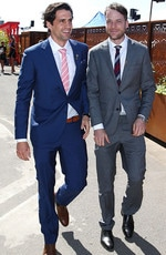 Hamish Blake and Andy Lee on Melbourne Cup Day at Flemington Racecourse on November 3, 2015 in Melbourne, Australia. Picture: Scott Barbour/Getty Images