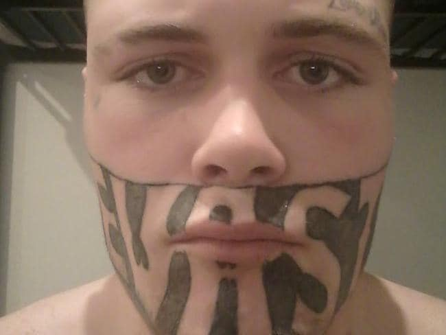 Mark Cropp's face tattoo has been holding him back from getting a job. Picture: Mark Cropp/Facebook