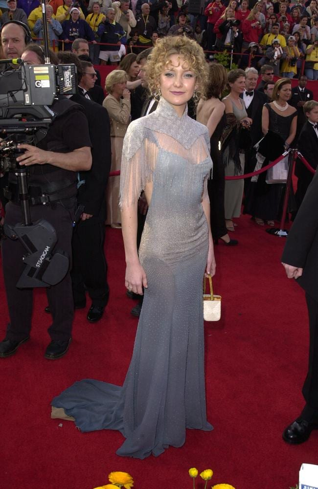 Is that Kate Hudson or our elderly aunt on her way back from linedancing class. The Hollywood golden girl gave the naysayers something to squark about in her 2001 Stella McCartney disaster. Picture: Steve Granitz Archive 1/WireImage