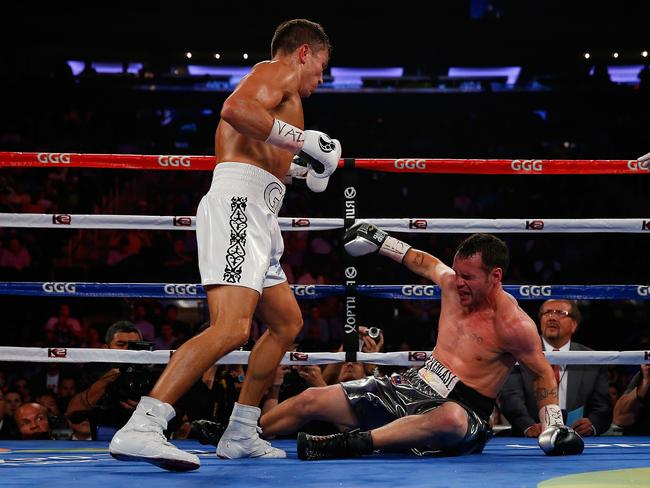 Gennady Golovkin knocks out Daniel Geale in the third round to win the WBA/IBO middleweight championship at Madison Square Garden.