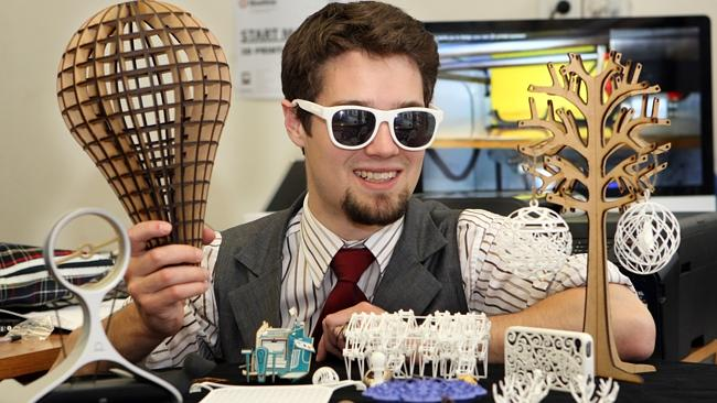 Adam Long creates designs on a computer and uses the latest technology including laser cutters and 3D printers to engineer anything from toys to the sunglasses he is wearing.