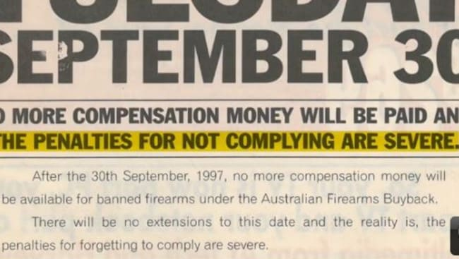 Hard to miss ... A section of an advertisement for the Australian government buyback scheme highlighted in the NRA ad. Picture: NRA/YouTube