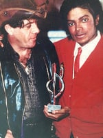 Molly Meldrum with Michael Jackson.