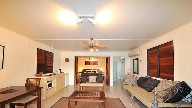 INSIDE the beachfront bungalow at Palm Bay, Long Island.