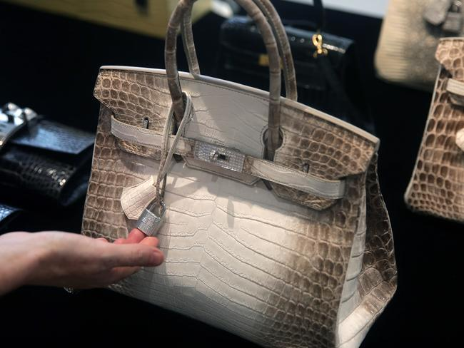 A Matte White Himalaya Niloticus Crocodile Diamond Birkin with 18K gold and diamond hardware is one of the most valuable handbags in the world. Picture: AFP/Isaac Lawrence