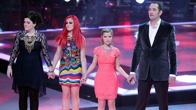 All would have been worthy winners ... The four finalists - Karise Eden, Sarah De Bono, Rachael Leahcar and Darren Percival - await the verdicton The Voice. Picture: Adam Ward