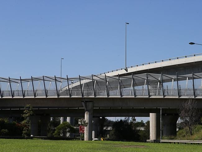 The M7 motorway intersection with M4, Light Horse Interchange, near Badgerys Creek Creek.