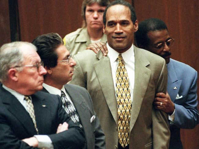 Legal team ... OJ Simpson with (from left) F Lee Bailey, Robert Kardashian and Johnnie Cochran. Picture: Supplied