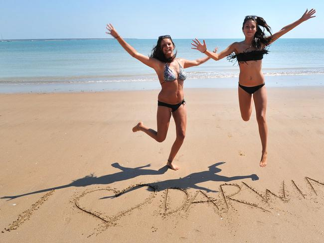 Marion Serboff and Jessica Brunot, both from France, enjoy Darwin - one of Australia's more expensive places to stay, according to the Hotels.com Hotels Price Index. Picture: Katrina Bridgeford