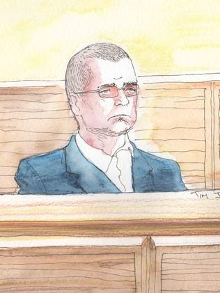 A sketch of Michael Craig Anderson in the dock. Artist: Tim Ide