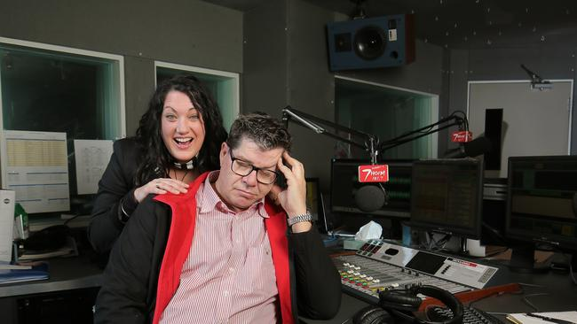 Anna Dare and Mick Newell hosting their 7HOFM breakfast show. Dare only started hosting with Newell in January of this year.