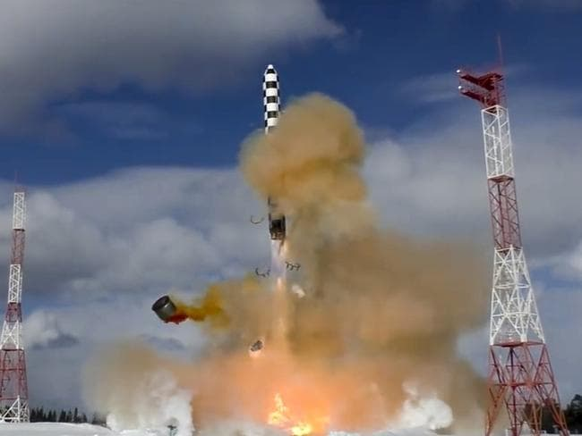 In this image from video provided by the Russian Defense Ministry Press Service, the Sarmat intercontinental ballistic missile blasts off during a test launch. Picture: AP