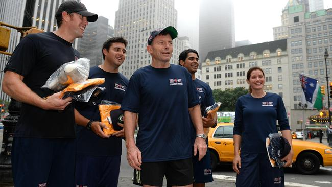Prime Minister Tony Abbott takes an early morning jog through Central Park with members of the NY fire department. New York. Picture: Jake Nowakowski