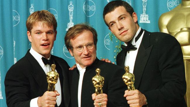 Matt Damon and Ben Affleck won Oscars for Best Original Screenplay in 1998 for  <i>Good Will Hunting</i>. They are pictured with the co-star Robin Williams, who won the Oscar for Best Supporting Actor. Picture: AFP Photo/Hal Garb