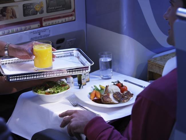 Business class service on an Emirates flight. Picture: SDP Media
