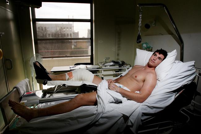 Lenny Hayes recovers after a 2006 knee reconstruction at the Mercy Private Hospital.