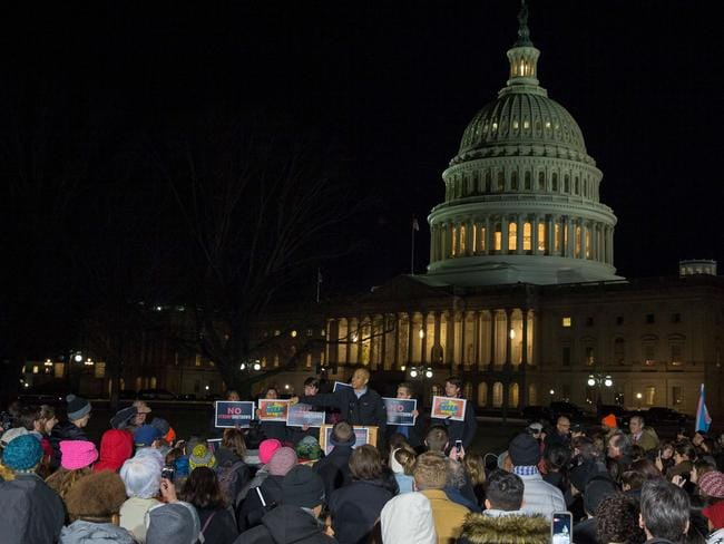 A rally outside the US Capital at a rally regarding the government shutdown. Picture: Getty