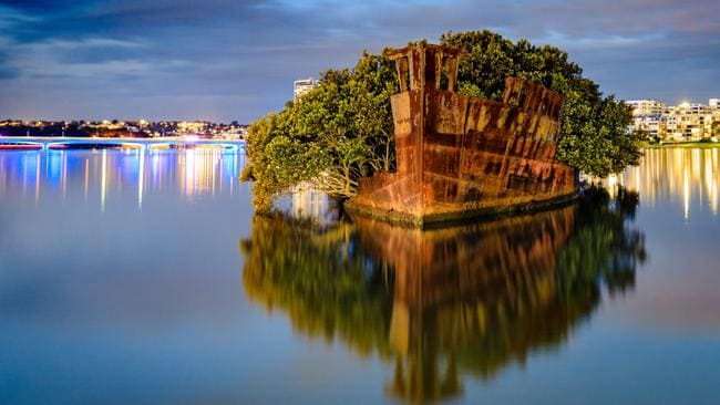 The wreck of the SS Ayrfield in Homebush Bay. Picture: Scott Stramyk