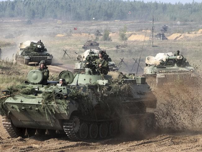 Belarusian army vehicles prepare for war games at an undisclosed location in Belarus. Russia and Belarus are holding a massive exercise, Zapad 2017, due to start near the borders of Poland, Estonia, Latvia and Lithuania. Picture: AP