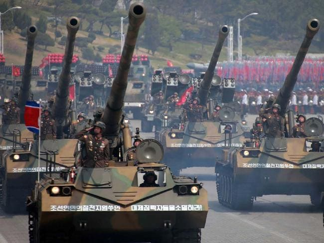 Howitzers taking part in the show of military strength. Picture: AFP