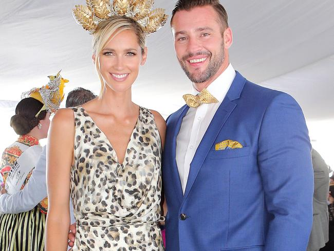 Myer Ambassadors Nikki Phillips and Kris Smith. Picture: Richard Gosling