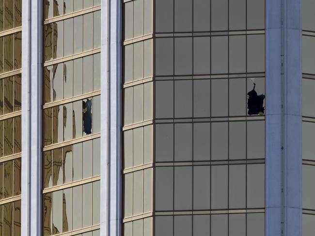 The damaged windows on the 32nd floor room that was used by the shooter. Picture: AFP