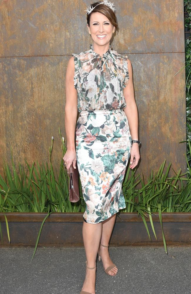 Natalie Barr wore a floral frock by Zimmermann at Flemington. Picture: AAP Image/Tracey Nearmy.