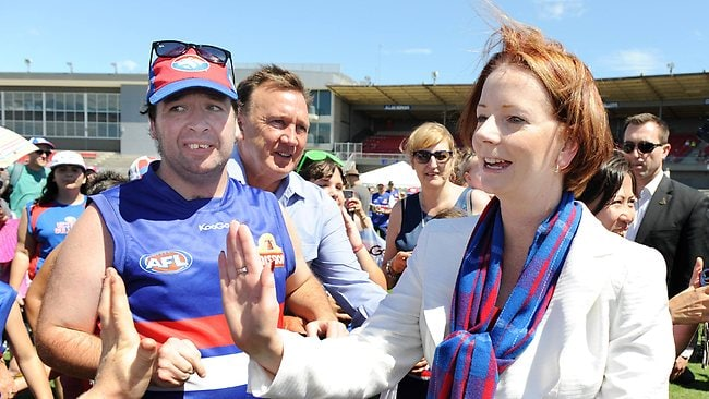 Prime Minister Julia Gillard in Melbourne the day before the leadership ballot. She went to the Western Bulldogs family day at Whitten Oval. Picture: Ellen Smith