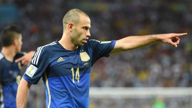 Argentina's midfielder Javier Mascherano gestures during the second half of the final.