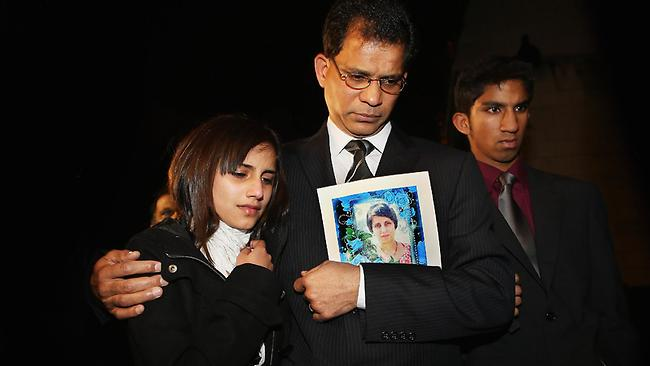 Ben Barboza, the husband of Jacintha Saldanha arrives his daughter Lisha and son Junal for a meeting with Former Labour minister Keith Vaz. Jacintha was one of two hospital staff who were responsible for inadvertently revealing details of the pregnant duchess's medical condition to two Australian DJs, and was subsequently found dead. Picture: Dan Kitwood/Getty