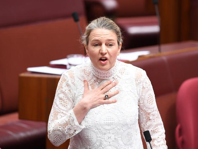 Labor Senator Louise Pratt fights back tears during a debate of anti vilification legislation during the Same Sex marriage survey. Picture: AAP