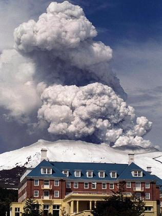 The Grand Chateau hotel dwarfed by the eruption in 1996.