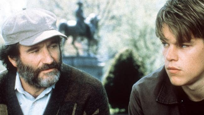 Robin Williams and Matt Damon in Good Will Hunting.
