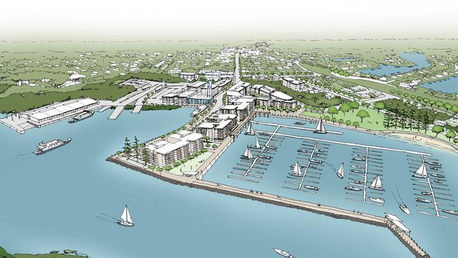 Artists impression of concepts for the redevelopment of Toondah Harbour.